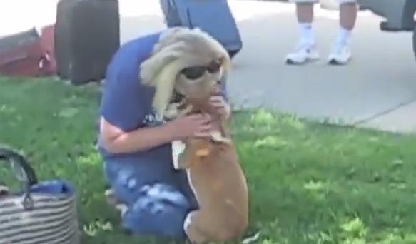 数日ぶりの飼い主に感情爆発した犬