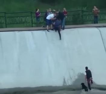 貯水池に落ちた犬を懸命に助ける人々に感動した動画