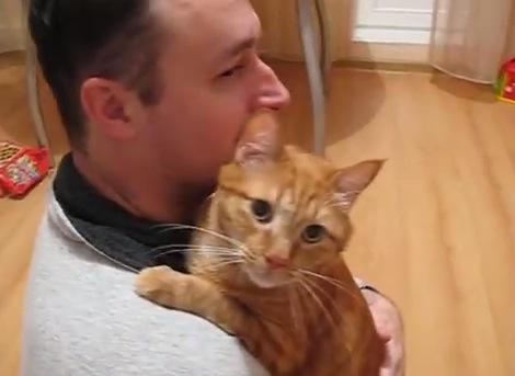お父さんから離れられない猫がカワイイ