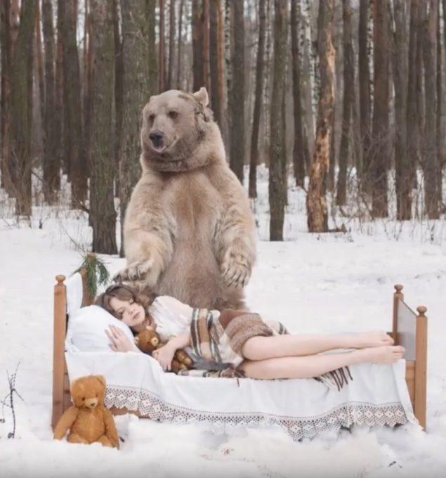 熊と美女が戯れるドキドキだけど美しい動画